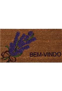 Capacho Retangular Vizapi Un Natural Com Fibra Natural 33 X 60 Cm - Lavanda/Marrom