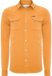 Camisa Masculina Color Manga Longa - Amarelo