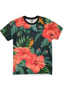 Camiseta Bsc Floral Flor Laranja Full Print Masculina - Masculino-Preto+Verde