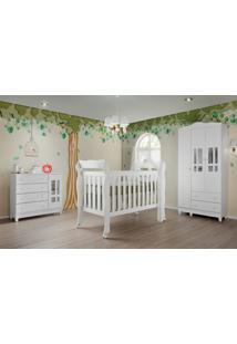 Dormitório Ariel Guarda Roupa 3 Portas Comoda Fraldã¡Rio Berço Lila Carolina Baby Branco