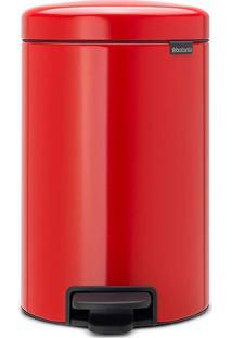Lixeira New Icon- Inox & Vermelha- 12Lm.Cassab