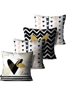 Kit Com 4 Capas Para Almofadas Pump Up Decorativas Branco Love Flamingos 45X45Cm