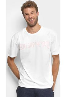 "Camiseta Triton ""Don'T Stop The Youth"" Masculina - Masculino-Off White"
