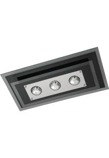 Plafon Saturno Aluminio E Vidro Pmr 137 Preto Bordado Bivolt