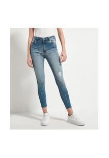 Calça Skinny Jeans Lisa Com Puídos