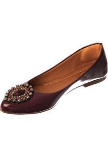 Sapatilha Butique De Sapatos Verniz Marsala Pedraria Gota