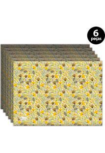 Jogo Americano Mdecore Floral 40X28 Cm Amarelo 6Pçs