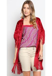Kimono Aveludado Com Franjas- Vermelho Escuro- Gup'Sgup'S Jeans