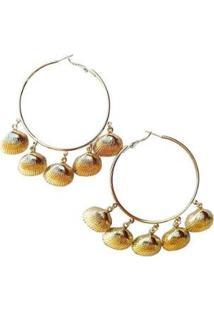 Brinco Argola Conchas - Feminino-Dourado
