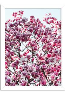 Quadro Decorativo Flores De Primavera Branco - Médio