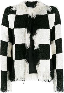 Msgm Fringed Tweed Jacket - Preto