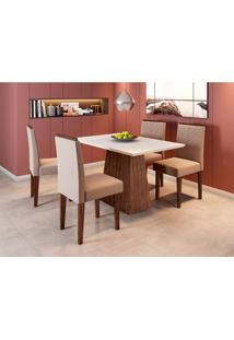 Conjunto De Mesa De Jantar Com Tampo De Vidro Jasmin E 4 Cadeiras Giovana Veludo Off White E Marrom