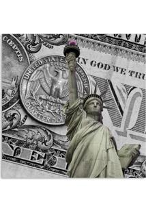 Quadro Nova York Dólar Uniart Cinza 45X45Cm