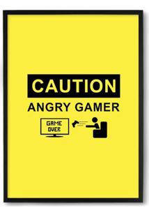 Quadro Decorativo 33X43Cm Nerderia E Lojaria Angry Gamer Preto