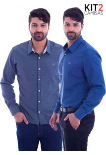 Kit 2 Camisas Slim Fit Live Luxor - Mescla Escuro E Azul Petróleo-M