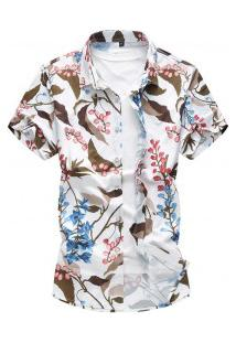 Camisa Masculina Estampa De Folhas