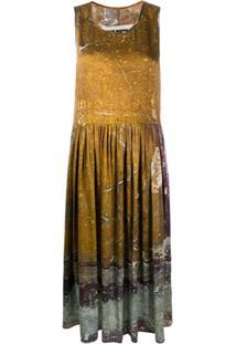 Uma Wang Vestido Com Estampa Abstrata - Marrom