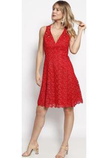 Vestido Em Renda Com Pedrarias- Vermelho- Nectarinanectarina