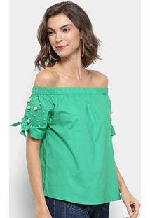 Blusa Ombro A Ombro Lily Fashion Pérolas Feminina - Feminino-Verde