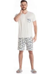 Pijama Coqueiros Slim Curto Masculino Cinza/P
