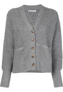 Reformation Cardigan Morgan Com Decote V - Cinza