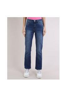 Calça Jeans Feminina Reta Com Bolsos Cintura Alta Azul Escuro