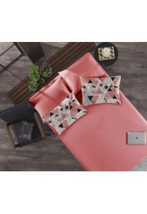 Jogo De Lençol Casal Com Elástico 3 Peças Malha Cubismo Rosa Flamingo Portallar
