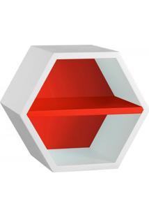 Nicho Hexagonal 1 Prateleira Favo Maxima Branco/Vermelho