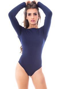 Body Moda Vicio Manga Longa Azul Marinho