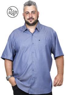 Camisa Plus Size Bigshirts Manga Curta Modal Azul