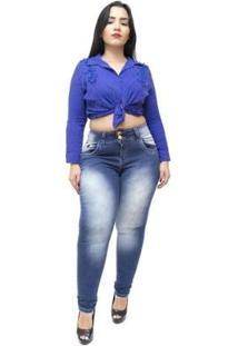 Calça Jeans Xtra Charmy Plus Size Skinny Vanilete Feminina - Feminino-Azul