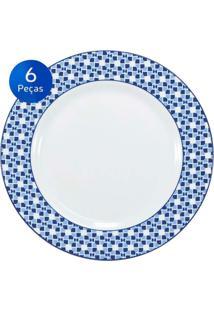 Conjunto Pratos Rasos Athena 6 Peças - Schmidt - Branco / Azul
