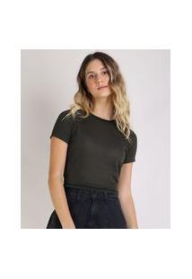 Blusa Feminina Cropped Com Lurex Manga Curta Decote Redondo Preta