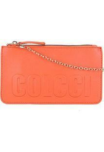 Bolsa Colcci Mini Bag Logo Alça Corrente Feminina - Feminino-Laranja