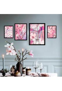 Kit 4 Quadros Com Moldura Paris Modern Pink