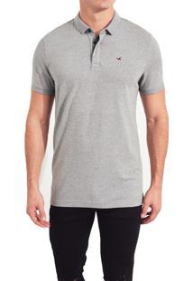 Camiseta Polo Hollister Clássica Cinza