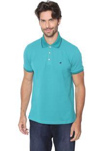Camisa Polo Malwee Reta Padronagem Verde/Azul-Marinho