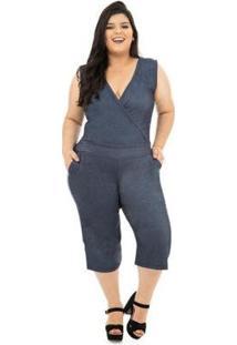 Macacão Pantacourt Catwalk Plus Size Feminino - Feminino-Azul