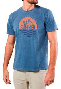 Camiseta Masculina Sandro Clothing Hello Summer Azul Estonada