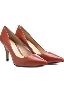 Scarpin Couro Shoestock Salto Médio Bico Fino - Feminino-Laranja Escuro