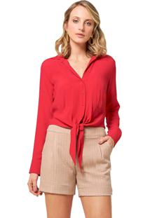 Camisa Mx Fashion Viscose Amarração Lira Vermelha