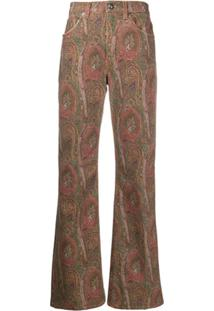 Etro Paisley-Print Straight Jeans - Marrom