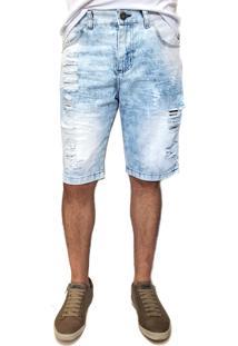 Bermuda Jeans Ballad Destroyed Azul
