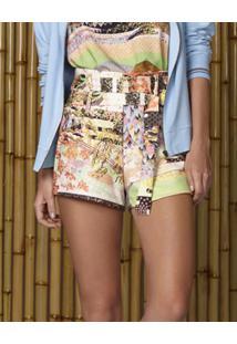 Shorts Estampado Com Cinto Vale - Lez A Lez