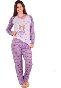 Pijama Vip Lingerie Inverno Calça Estampada Roxo