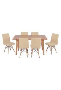Conjunto Mesa De Jantar Em Madeira 150X80 Vértice + 6 Cadeiras Gomos - Nude