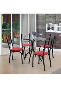 Conjunto De Mesa De Cozinha Com 4 Cadeiras Samarah Couro Sintético Vermelho