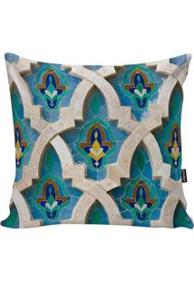 Capa De Almofada Turkish- Bege Claro & Azul- 45X45Cmstm Home