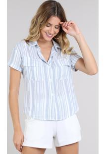 Camisa Feminina Listrada Com Bolso E Botões Manga Curta Azul