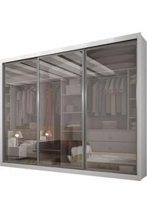 Guarda-Roupa Ravena Top Reflecta Com Espelho - 3 Portas - 100% Mdf - Branco